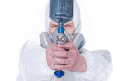 Man with airbrush gun, selective focus Royalty Free Stock Photos