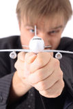 Man and airplane Stock Photography