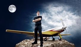 Man and airplane Royalty Free Stock Photos