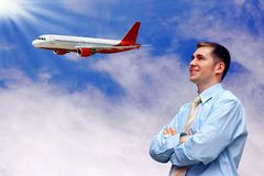 Man and airplane in air Royalty Free Stock Image
