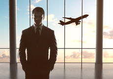 Man and airplane Stock Photo