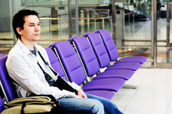 Man in the airport. Royalty Free Stock Image