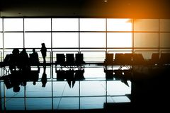Man in airport. Airplane, view from airport terminal.selective focus,travel concept.  Royalty Free Stock Photography