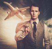Man in an airport Royalty Free Stock Photos