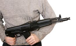 Man with AK-105 machine gun. Isolated on the white background royalty free stock images