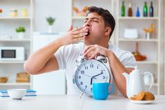 The man with alarm clock falling asleep at breakfast Stock Photography