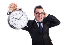 Man with alarm clock Stock Images