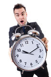 Man with alarm clock Royalty Free Stock Image
