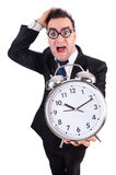 Man with alarm clock isolated Stock Photography