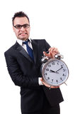 Man with alarm clock isolated Stock Photos
