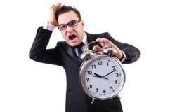 Man with alarm clock isolated Royalty Free Stock Photo