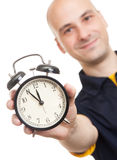 Man with an alarm clock Royalty Free Stock Photos