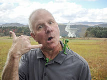 Man and aliens at NRAO, Green Bank Stock Photography