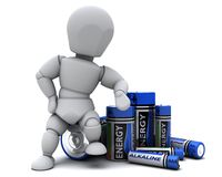 Man with Alkaline Batteries Royalty Free Stock Image