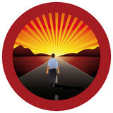 Man alone walking towards the horizon on a road with red round frame Stock Photography