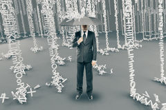 Man in alphabet rain Stock Photo