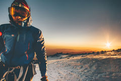 Man alpinist climbing in mountains greet the dawn. Man alpinist climbing in mountains Travel Lifestyle concept adventure active vacations outdoor greet the dawn Royalty Free Stock Image