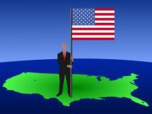 Man with American flag. Business man standing on map of USA with American flag Royalty Free Stock Photography