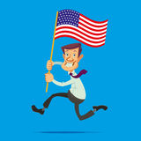 Man with American flag. Happy smiling man with the American flag running towards the dream Royalty Free Stock Images