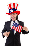Man with american flag Royalty Free Stock Photography