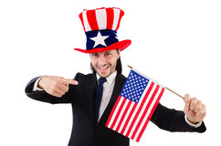 Man with american flag Royalty Free Stock Photos