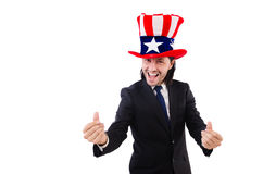 Man with american flag Stock Images