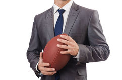 The man with american football ball isolated on white Stock Photo