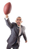 The man with american football ball isolated on white Stock Photography