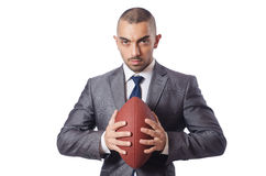 The man with american football ball isolated on white Stock Images