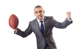 The man with american football ball isolated on white Stock Image