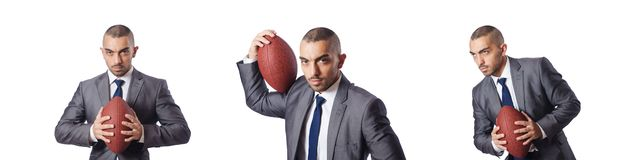 The man with american football ball isolated on white royalty free stock photos