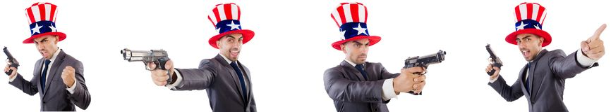 The man with american hat and handguns. Man with american hat and handguns stock images