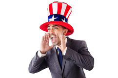 Man in american hat yelling Royalty Free Stock Photos