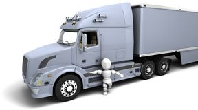 Man in American sem -truck Stock Photography