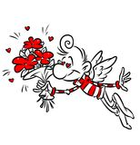 Man amorous love flying wings cartoon illustration Royalty Free Stock Photography