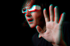 Man with anaglyph glasses Royalty Free Stock Photography