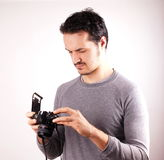Man with analogic camera Royalty Free Stock Image