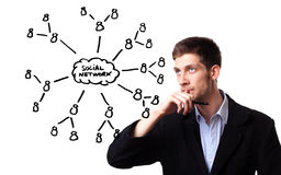 Man analysing social network schema Stock Photo