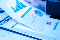 Man Analysis Business and financial report Royalty Free Stock Images