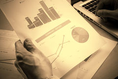 Man Analysis Business and financial report Royalty Free Stock Photo