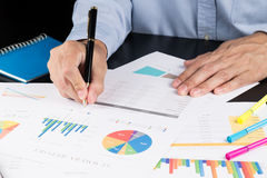 Man Analysis Business and financial report. Royalty Free Stock Photo