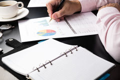 Man Analysis Business and financial report. Man Analysis Business and financial report Royalty Free Stock Photography