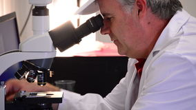 Man analyzing with a microscope. Working with a microscope in the laboratory
