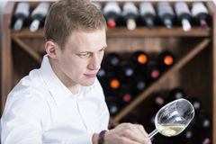 Man analyzing a white wine glass Stock Photos