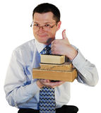 Man with a ancient book. Man with a age-old books, isolated on a white background Royalty Free Stock Images