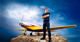 Man And Airplane Royalty Free Stock Photo