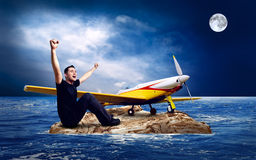Man And Airplane Stock Images