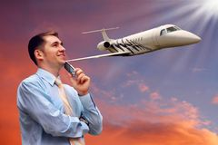 Man And Airplane In Air Royalty Free Stock Photo