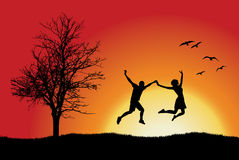 Man And Girl Holding For Hands And Jumping Stock Photos