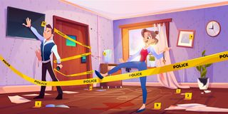 Free Man And Girl In Quest Escape Room With Crime Scene Stock Image - 165139941